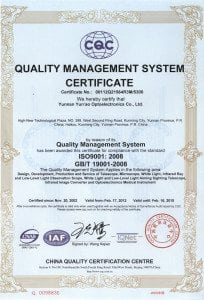 YunAo Optics CO. Ltd. has achieved ISO9001: 2008 Quality Management System certification.