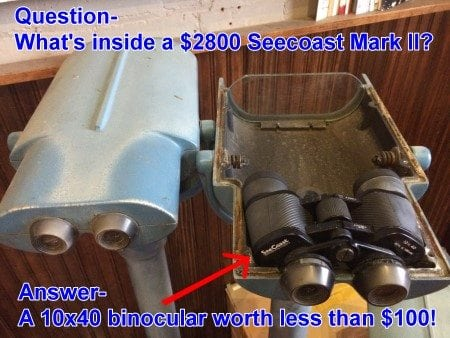 What's inside a $2800 Seecoast Mark II- a 10x40 binocular worth less than $100 - cutaway photo